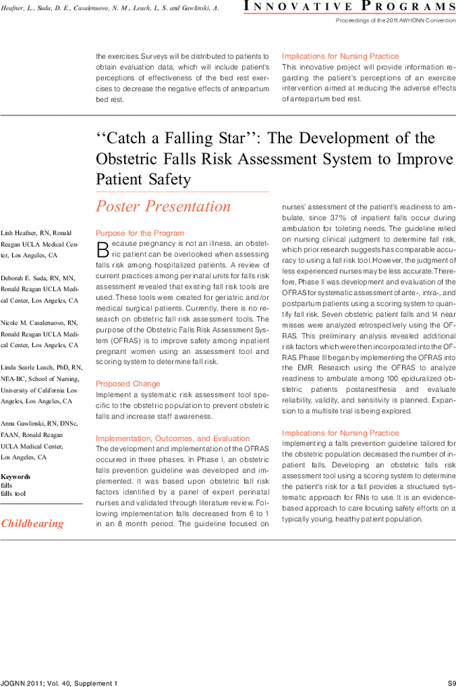 """Catch a Falling Star"""": The Development of the Obstetric Falls Risk ..."""